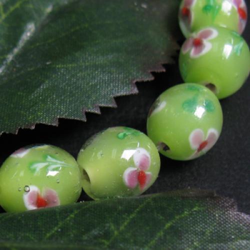Millefiori Lampwork Glass Drum Beads N36