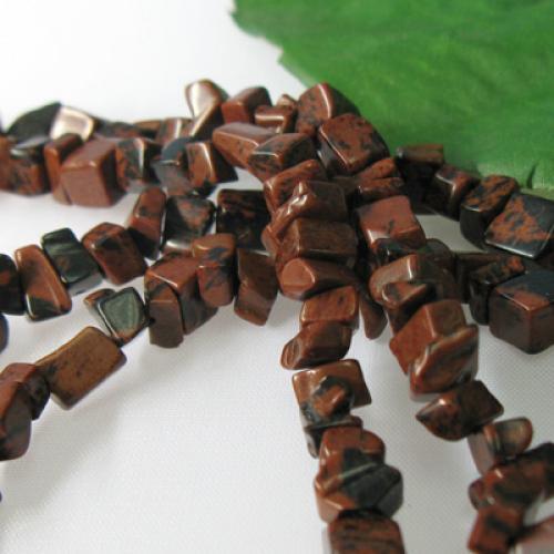 6x8mm Mahogany Obsidian Chips Gemstone Loose Bead Strand 34 Inch