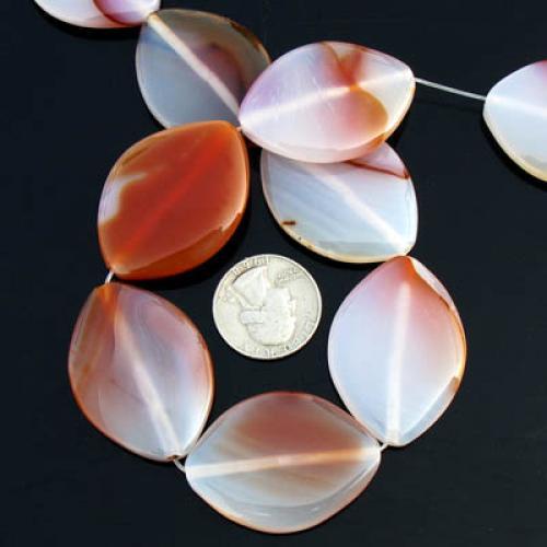 40x30mm Red Sardonyx Agate Flat Leaf Gemstone Loose Bead Strand 14.5 Inch