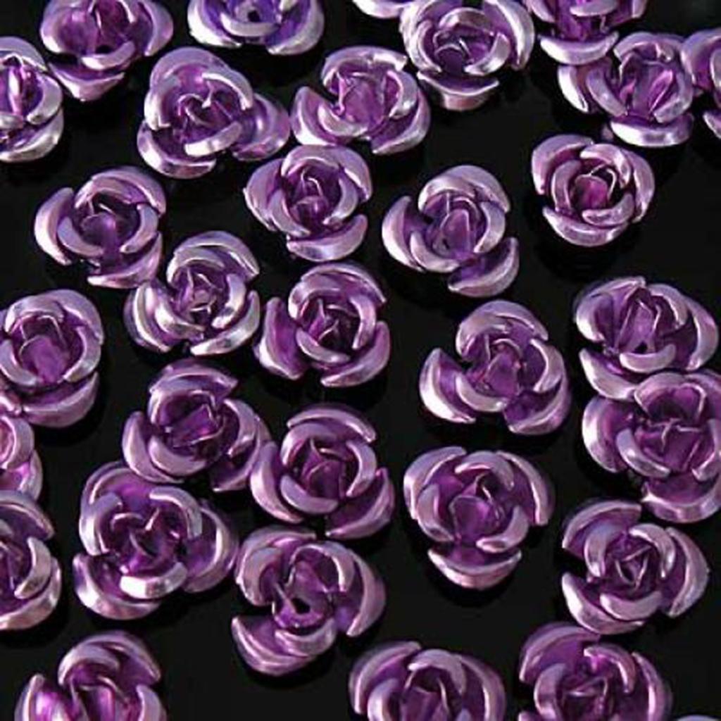 100PCS 8mm Purple Anodized Aluminum Rose