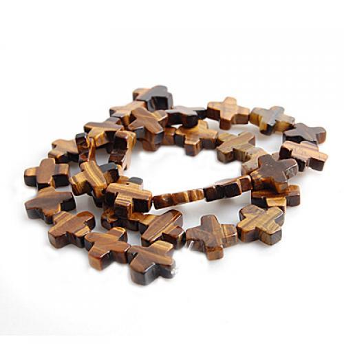 12 x 12mm Tiger Eye Cross Gemstone Loose Beads 16inch