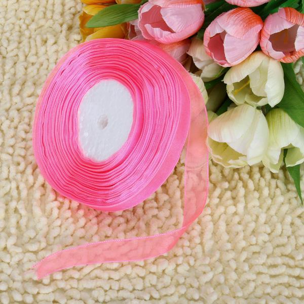 5/8 Inch 50 Yard Organza Ribbon - Florescent Pink 13#