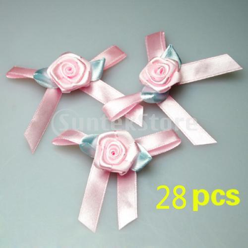 Hand-made Satin Ribbon Bow Rose Flower Appliques Craft Trim Pink 28pcs