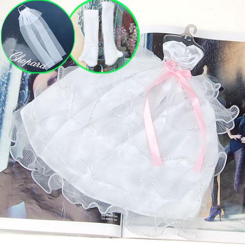 Bridal Wedding Gown Princess Dress Veil Gloves For Barbie Dolls - White