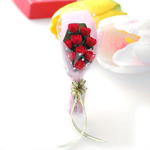 1/12 Dollhouse Miniature Clay Rose Flower Red Bouquet OP044