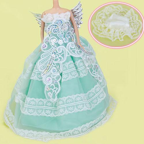 Bridal Wedding Gown Dress Hat For Barbie Dolls - Baby Blue
