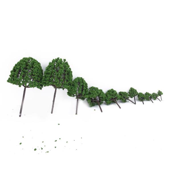 11pcs 1.4 inch - 6.3 inch Green Train Set Scenery Landscape Model Tree - Scale 1/50