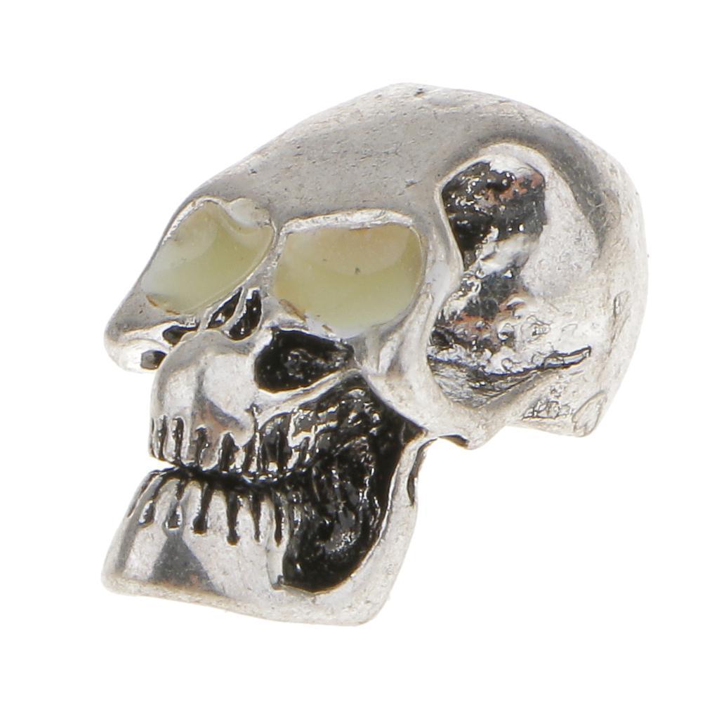 Silver Tone Metal Gothic Skull Charm Pendant w/ Luminous Eyes