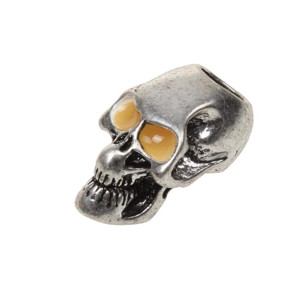 Silver Tone Metal Gothic Skull Pendant Charm w/ Luminous Eyes