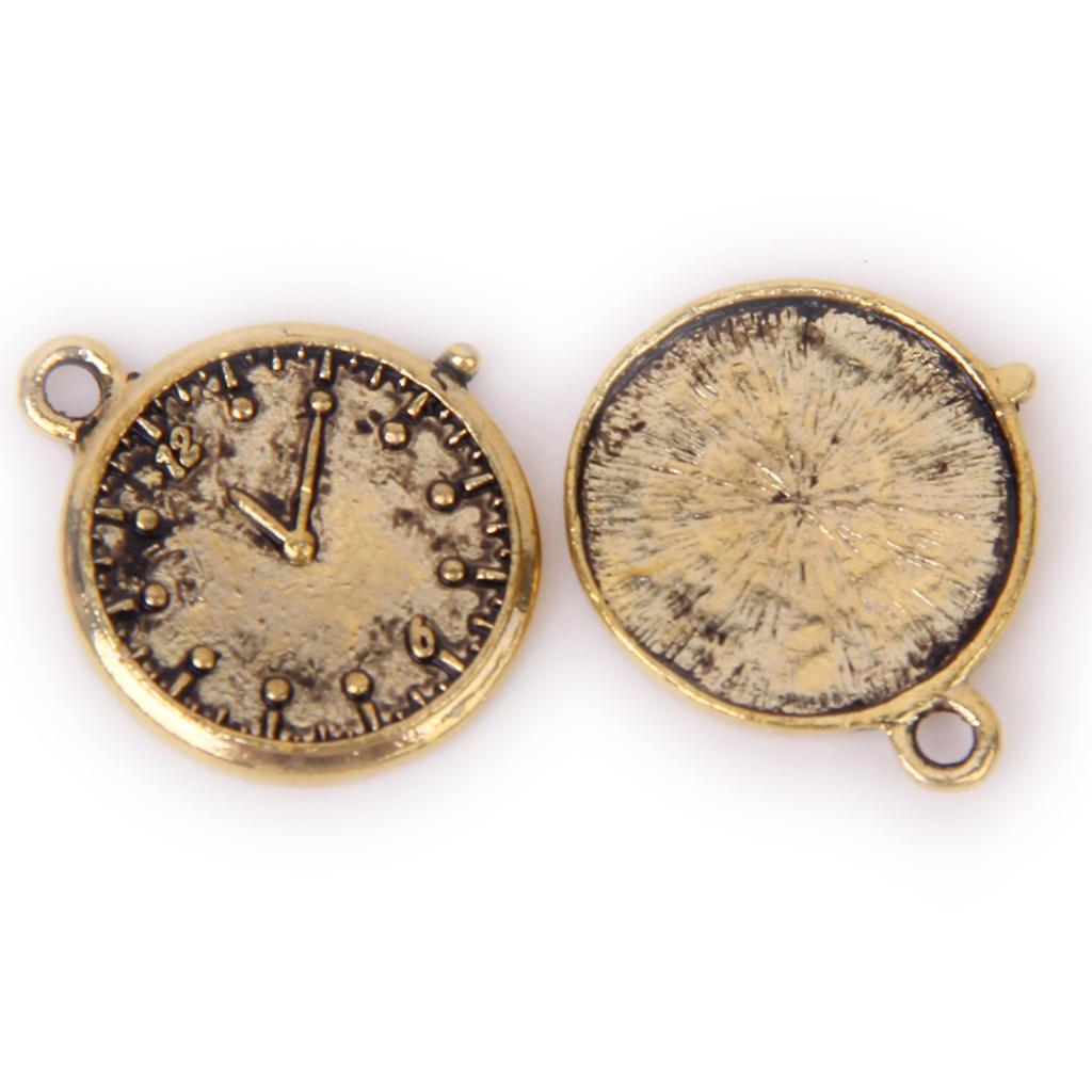 Antique Gold Round Clock Cameo Base Setting Pendant
