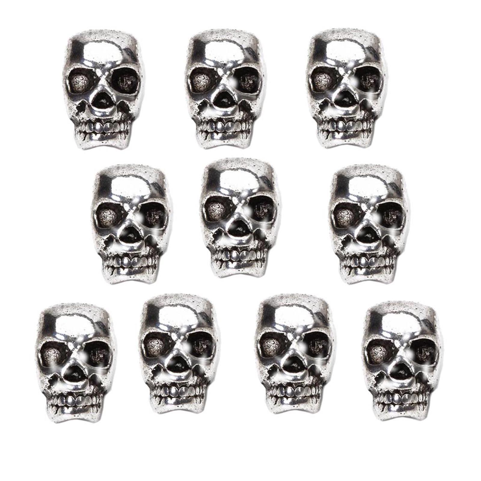 10pcs Tibet Silver Skull Spacer Beads