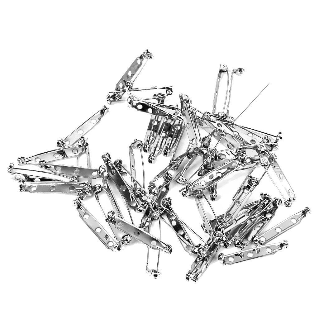 50pcs Brooch Back Safety Catch Bar Pins 32mm
