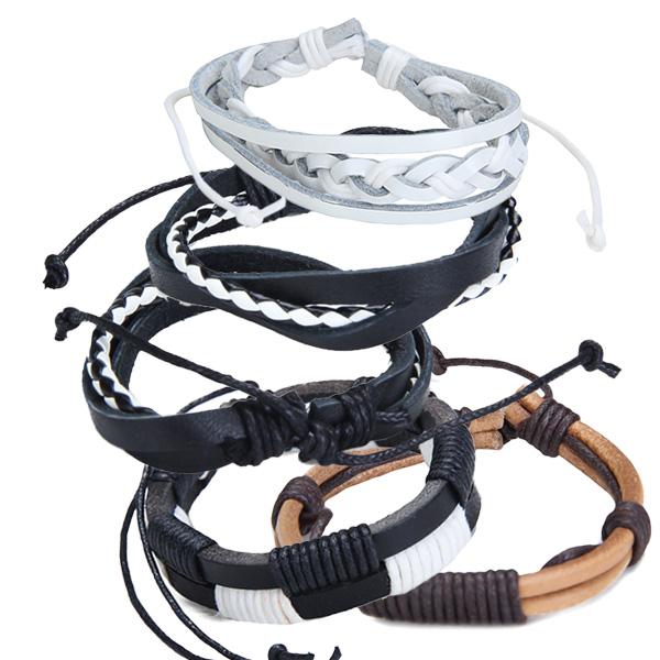 5x Adjustable Layer Leather Bracelets Wristbands