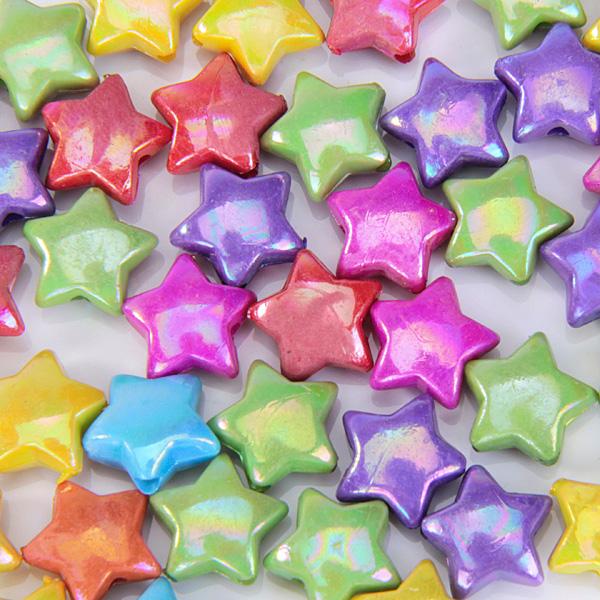 50pcs Colorful Plastic Star Beads
