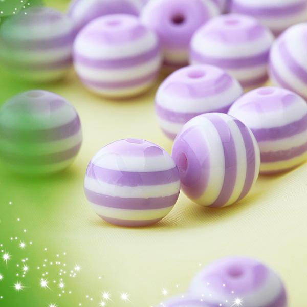 50pcs DIY Stripe Acrylic Round Beads - Purple and White