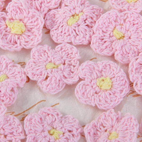 20 Handmade Crochet Applique 5 Petals Pink