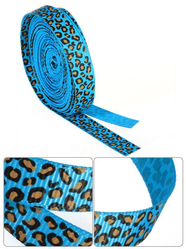 3/8 Inch Leopard Grosgrain Ribbon 5Yd Blue