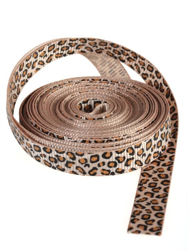 3/8 Inch Leopard Grosgrain Ribbon 5Yd