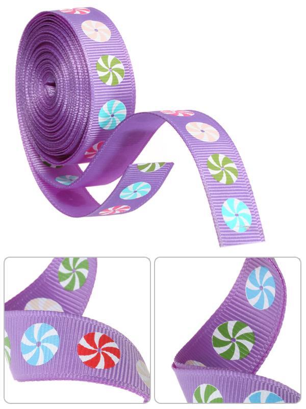 5/8 Inch Windmill Print Grosgrain Ribbon 5Yd Purple