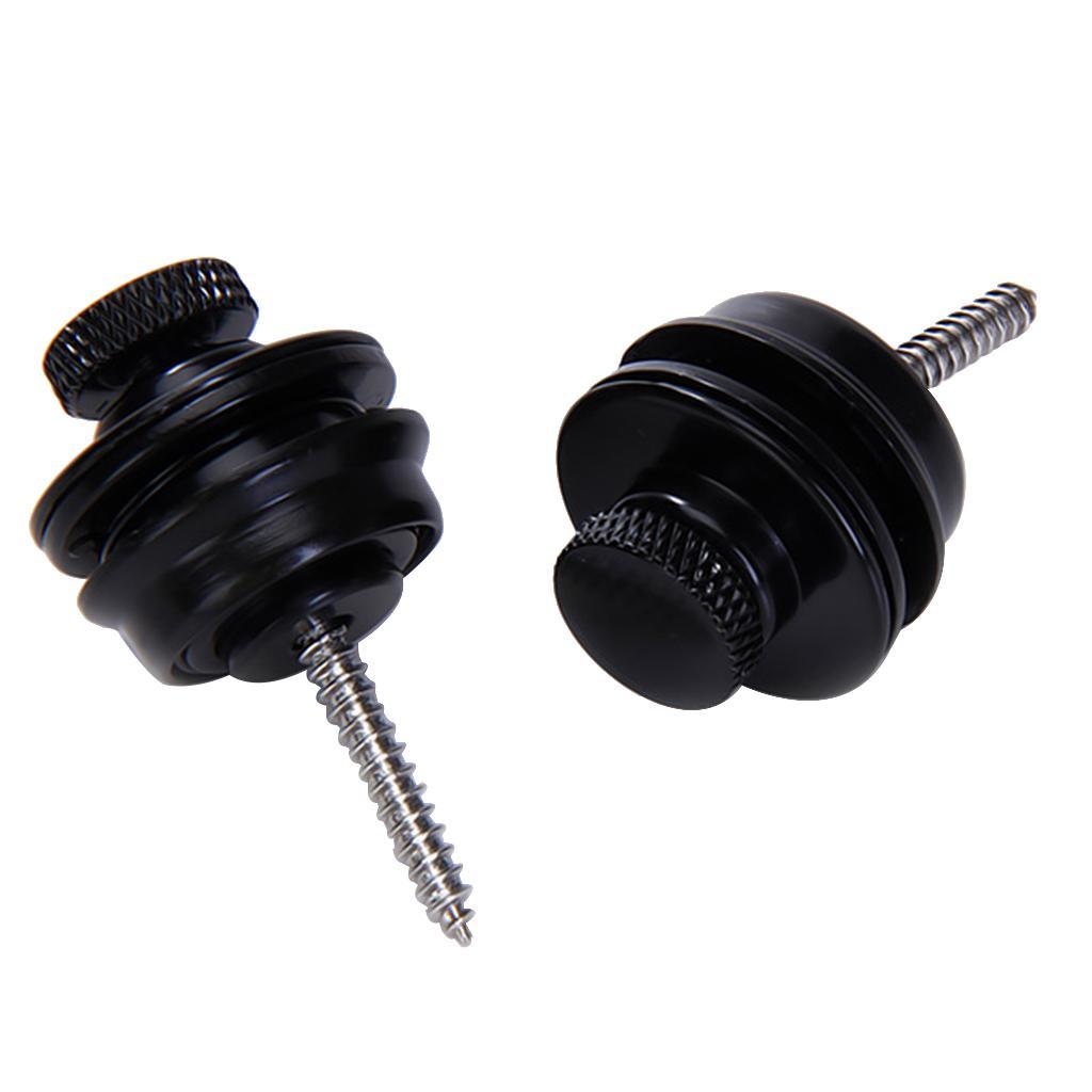 2 x Flat Head Chrome Strap Lock for Electric Guitar Bass - Black