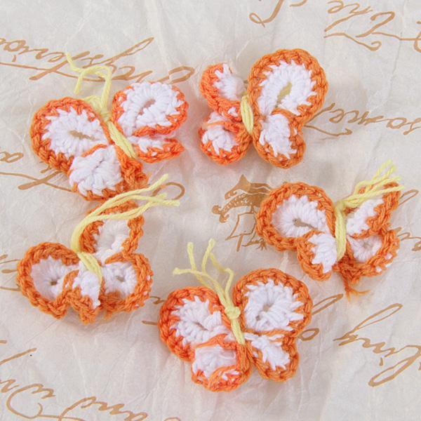 60pcs Handmade Crochet Butterfly Appliques