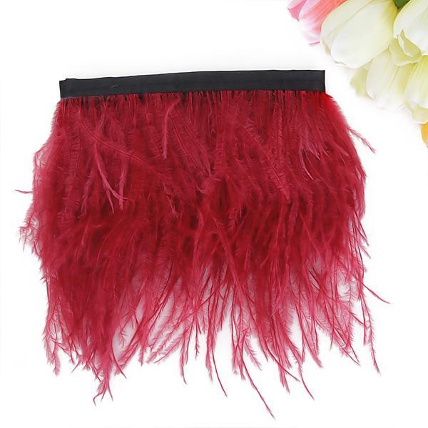 Ostrich Feather Dyed Fringe 1 Yard Trim Red