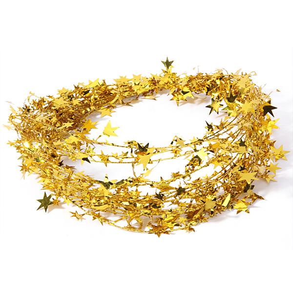 Feet gold star tinsel garland christmas decoration