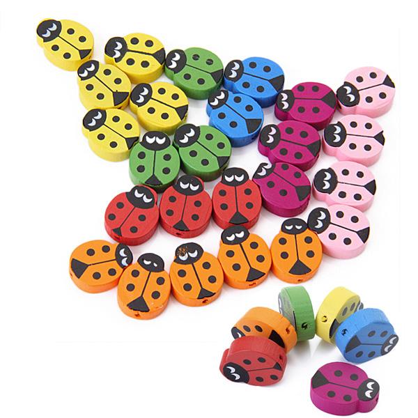 18pcs Wooden Ladybug Beads