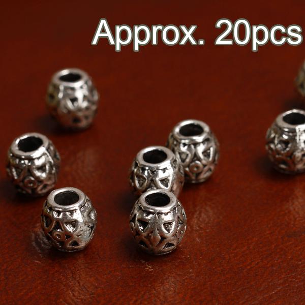 20pcs Antique Silver Carved Barrel Beads 8mm