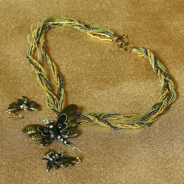 Vintage Dragonfly Pendant Necklace Earring Set