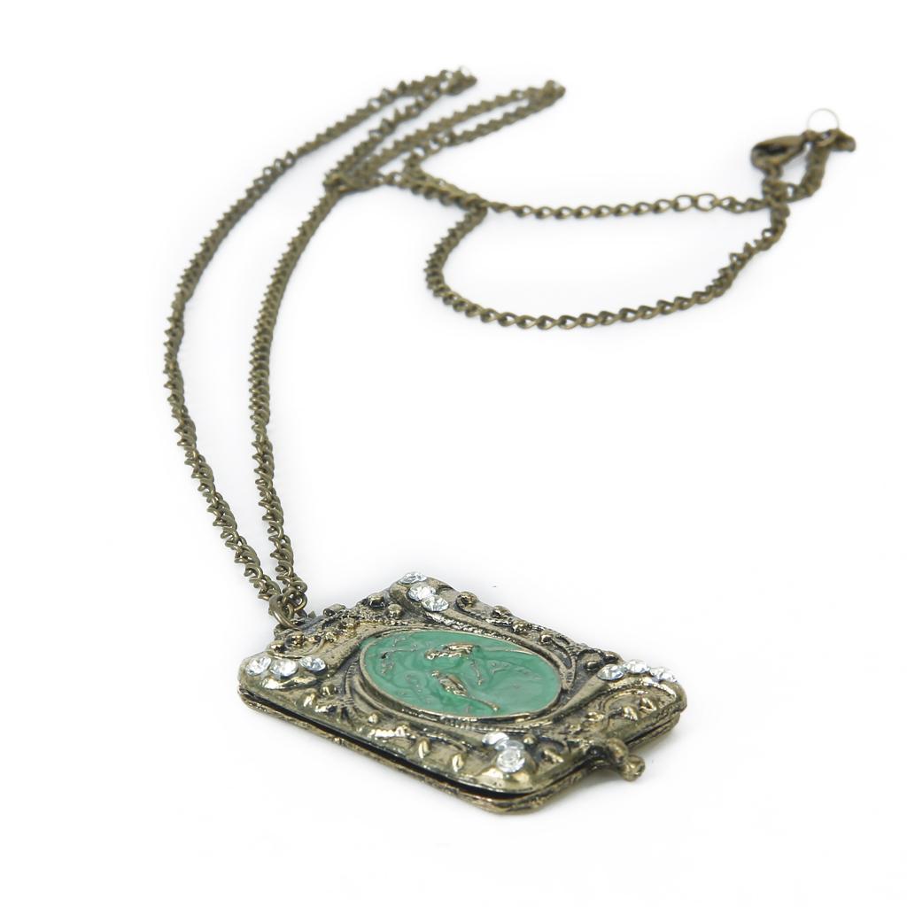 Antique Bronze Bird Locket Pendant Necklace