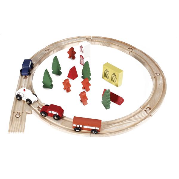 25 pcs Wood Block Train Set Toys