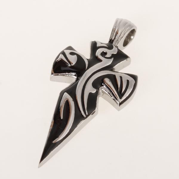 Punk Style Mens Titanium Steel Cross Pendant Charm