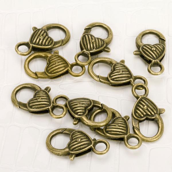 10pcs Antique Bronze Heart Lobster Clasp Finding 25mm w/ Diagonal Stripe