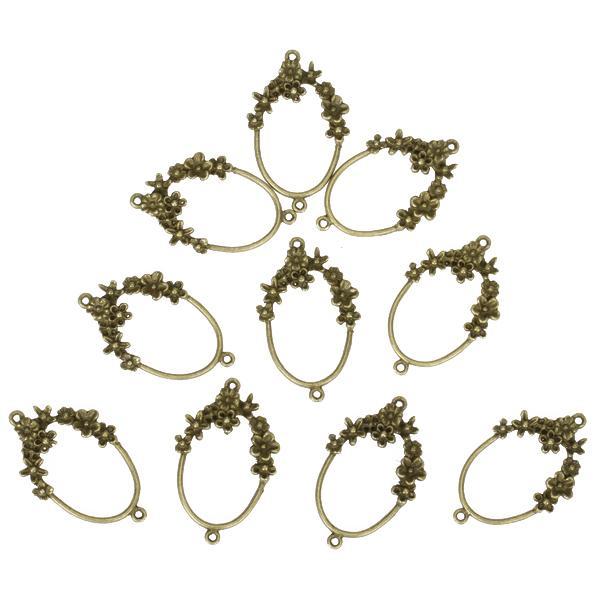 10pcs Antique Bronze Flower Oval Connectors Jewelry Findings