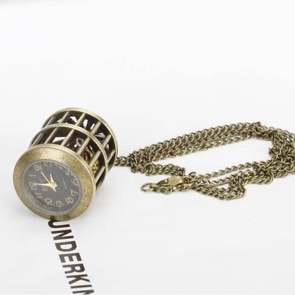 Antique Bronze Bird Cage Quartz Pocket Watch Pendant Necklace