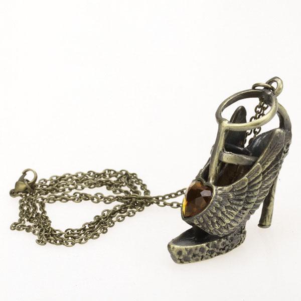 Antique Bronze High Heel Pendant Necklace