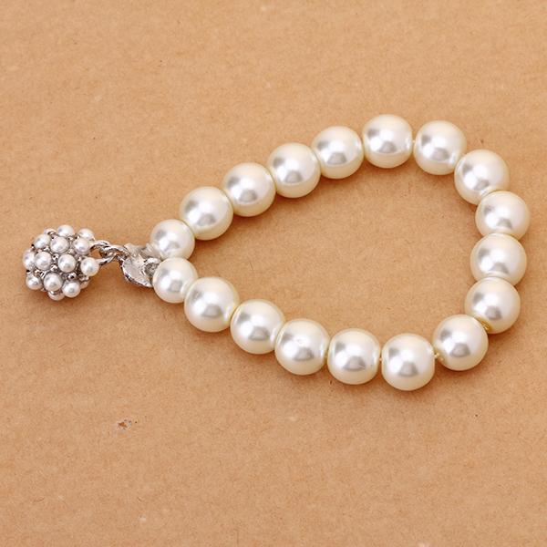 Woman Elastic Rhinestone Pearl Bracelet w/ Beaded Pendant