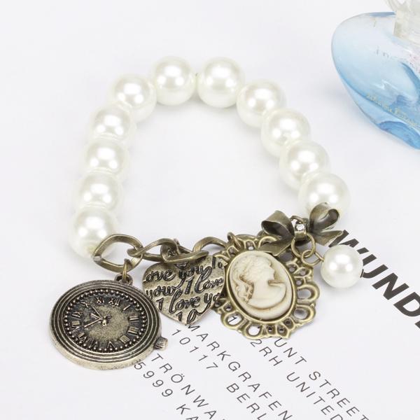 Vintage Elastic Pearl Heart Clock Bowknot Pendant Bracelet