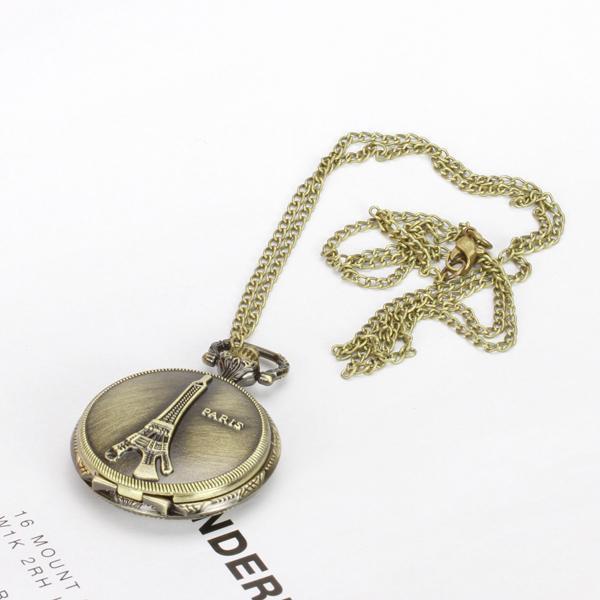 Antique Bronze Eiffel Tower Quartz Pocket Watch Pendant Necklace