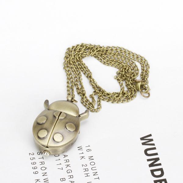 Beetle Quartz Pocket Watch Pendant Necklace Bronze