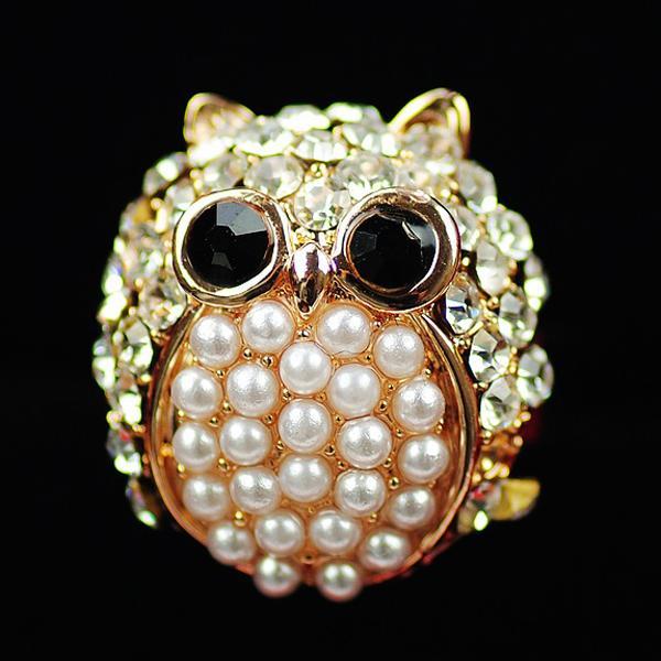 Pearl Rhinestone Owl Ring Gold