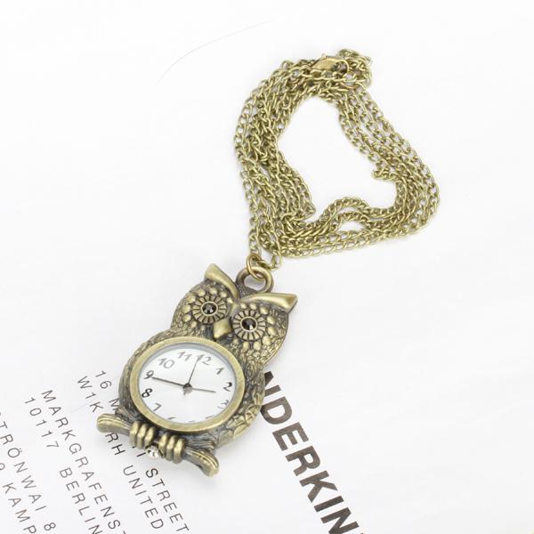 Antique Bronze Black Rhinestone Owl Pocket Watch Pendant Necklace