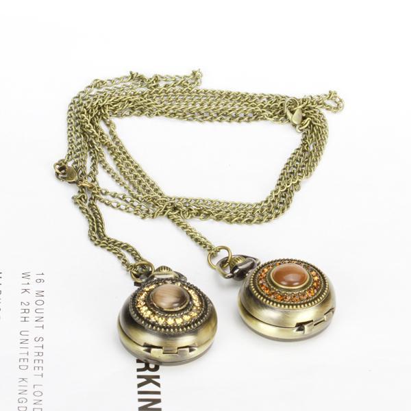 Antique Bronze Opal Rhinestone Quartz Pocket Watch Pendant Necklace