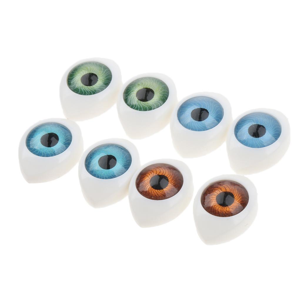 4 Color 8pcs Oval Hollow Back Plastic Eyes For Doll Mask DIY 9mm