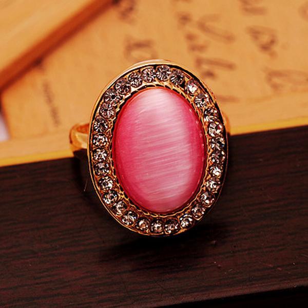 Oval Rhinestone Pink Opal Ring