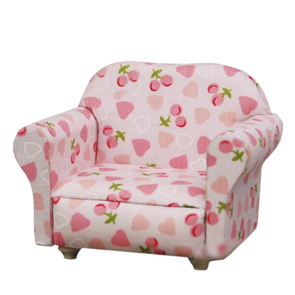 1/12 Dollhouse Miniature Single Sofa Light Pink