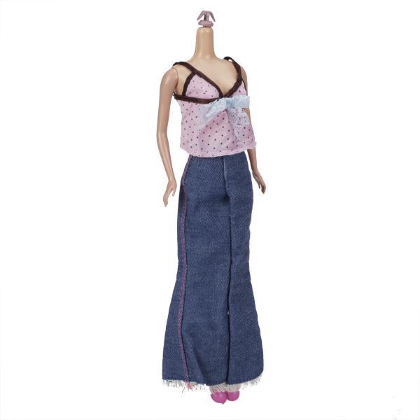 Pink Sun Top Jeans Skirt Suit for Barbie Dolls