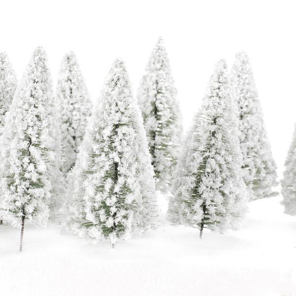 10pcs White Scenery Landscape Model Cedar Trees 12cm