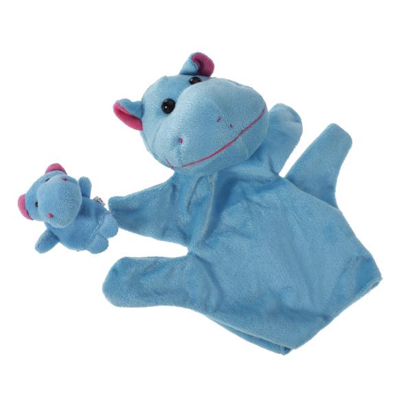 Blue Hippo Hand Puppet Finger Puppet